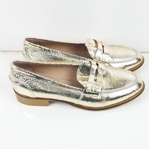 Minelli Italian Made Metallic Gold Loafers sz 41